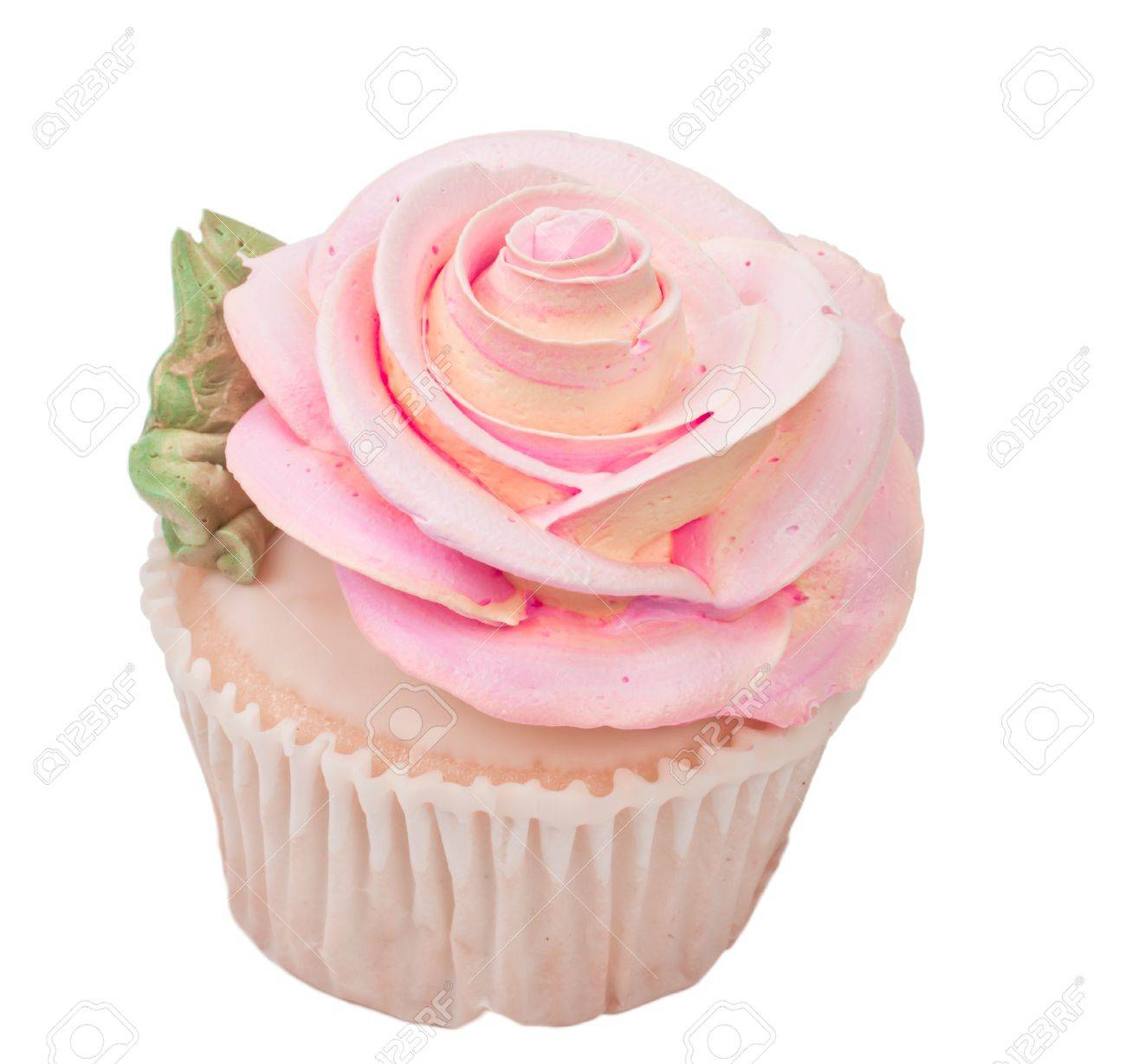 Isolated Cupcake Shape Like A Rose On White Background With Green Leaf Stock Photo