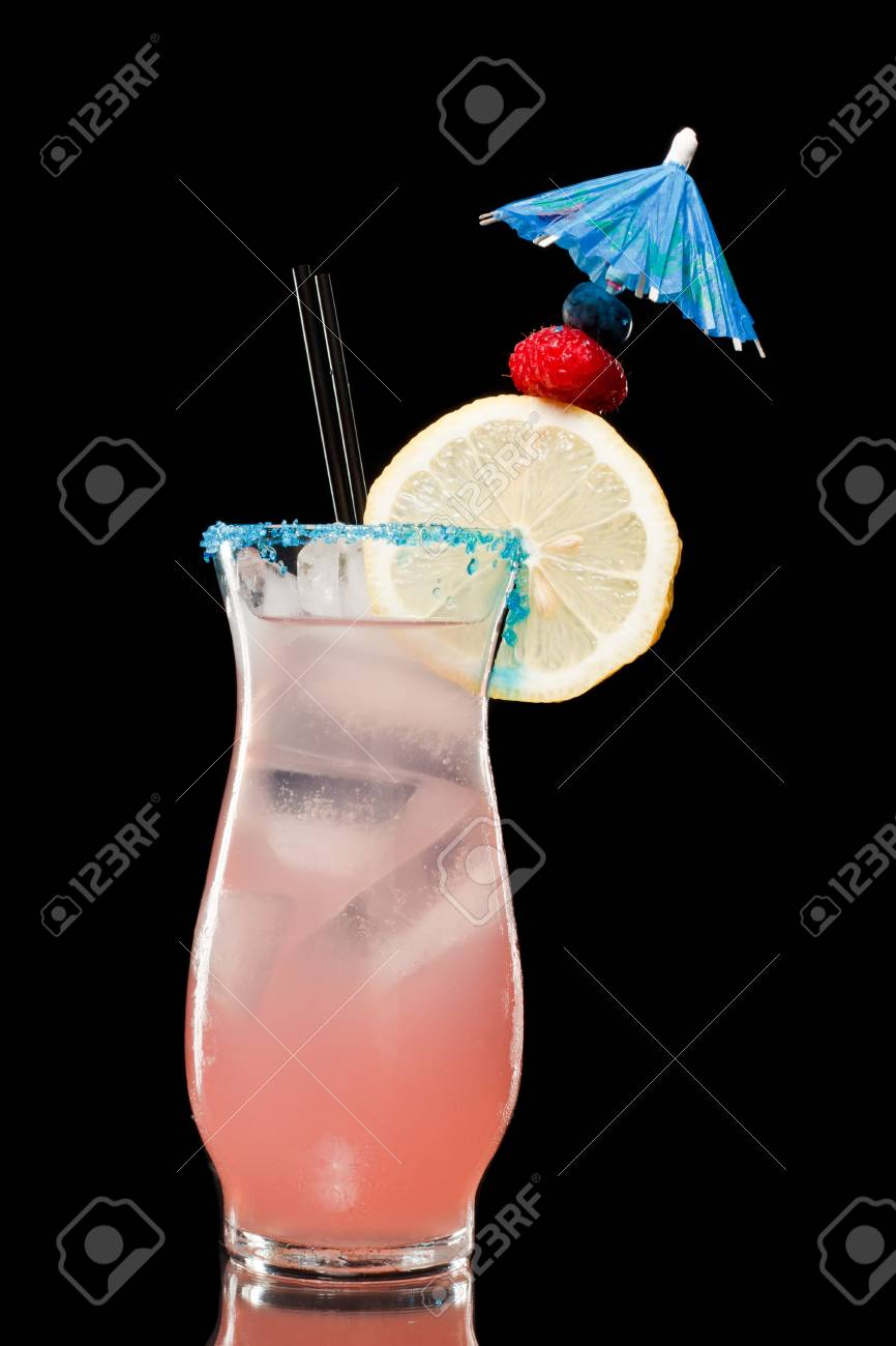 refreshing raspberry lemonade isolate don a black background, with an umbrella and a twist Stock Photo - 12499153