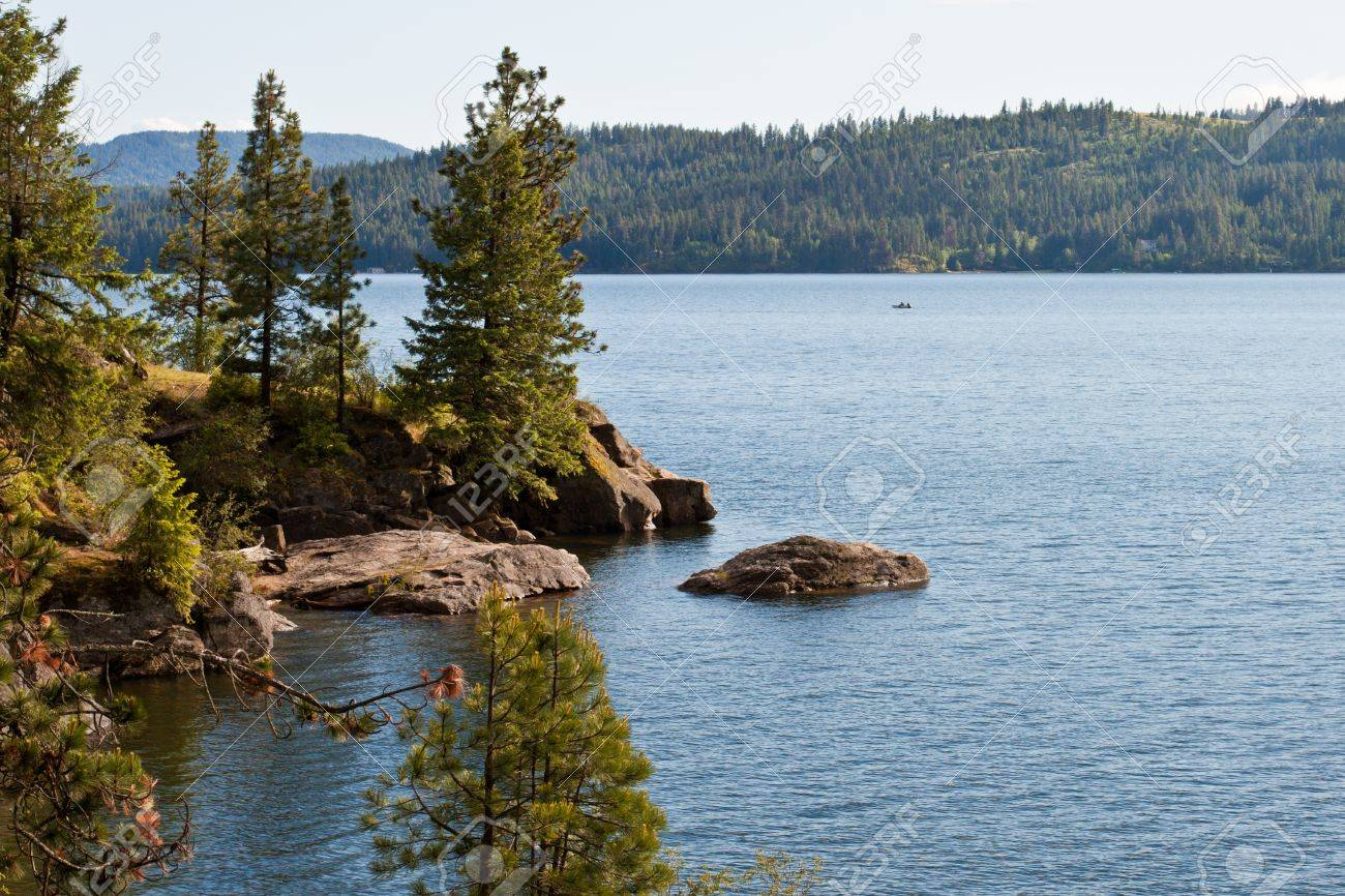 View of coeur d alene lake from tubs hill fresh summer morning Stock Photo - 14167986