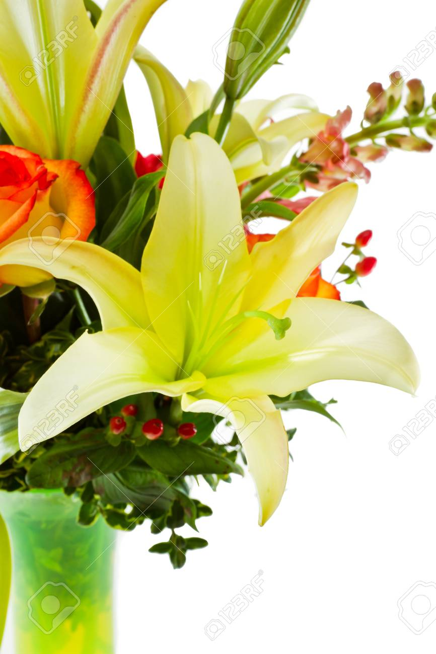 Closeup Of A Green Lily In A Flower Arrangement Stock Photo Picture
