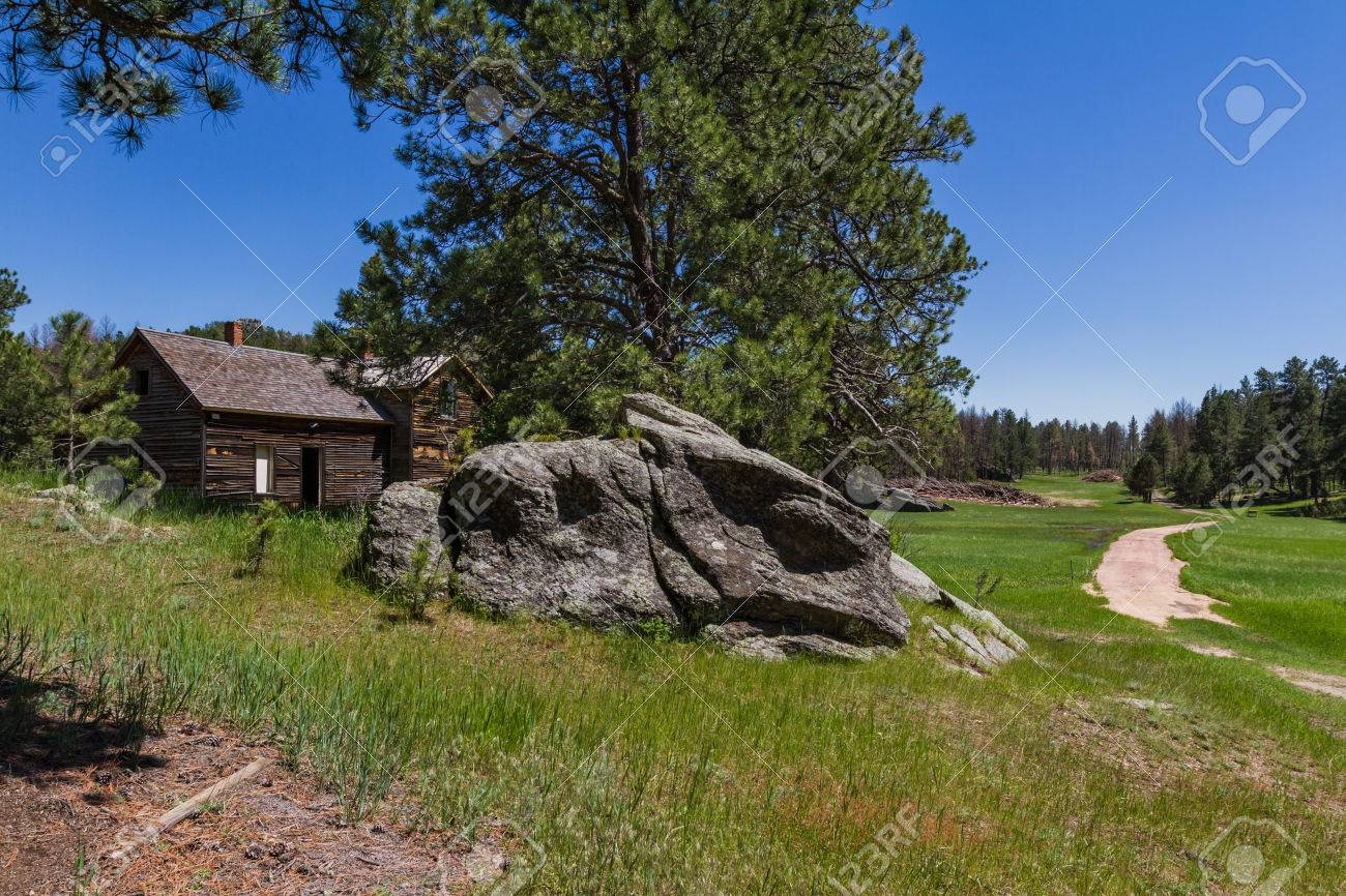 old abandoned farmhouse in the black hills of South Dakota