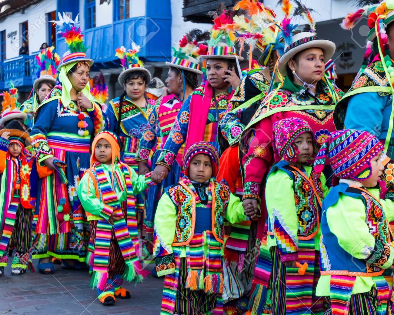 Cusco, Peru - May 13: Native people of Cusco dressed in colorful