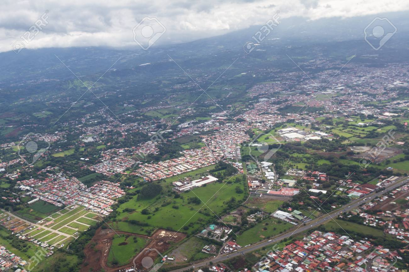 Aerial view of the central valley in Costa Rica with green vegetation
