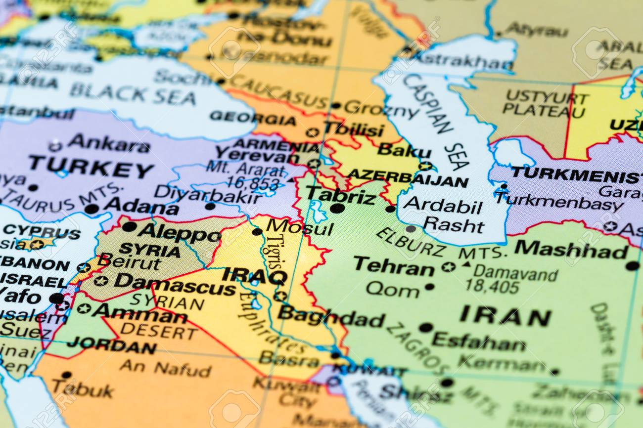 Map Of The World Close Up.Close Up Of A World Map With The City Of Mosul In Focus