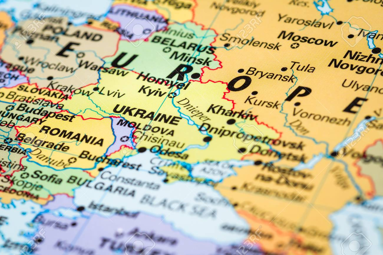 Picture of: Close Up Of A World Map With The Word Kyiv The Capital Of Ukraine Stock Photo Picture And Royalty Free Image Image 90340042