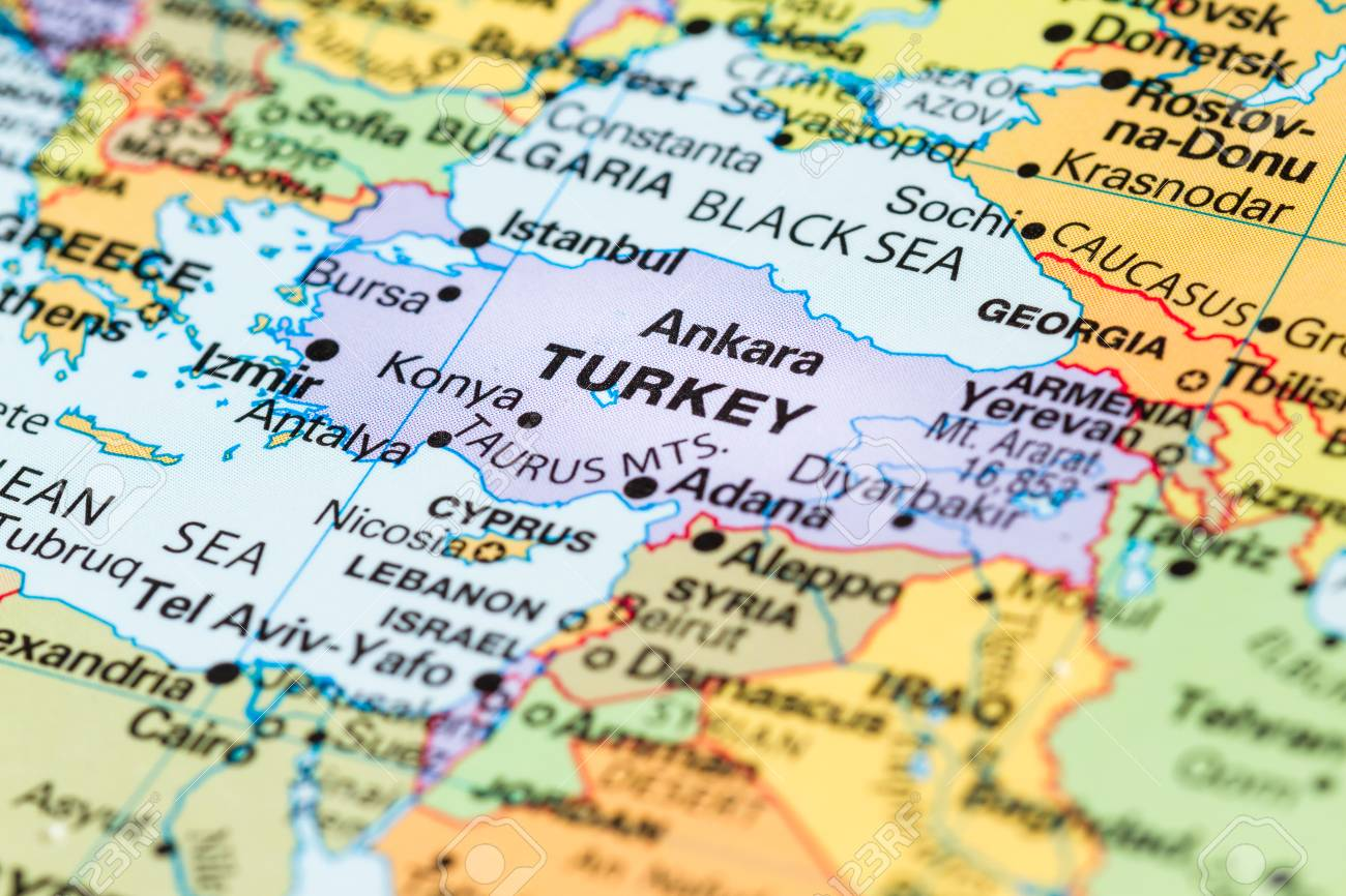 close up of a world map with Turkey in focus