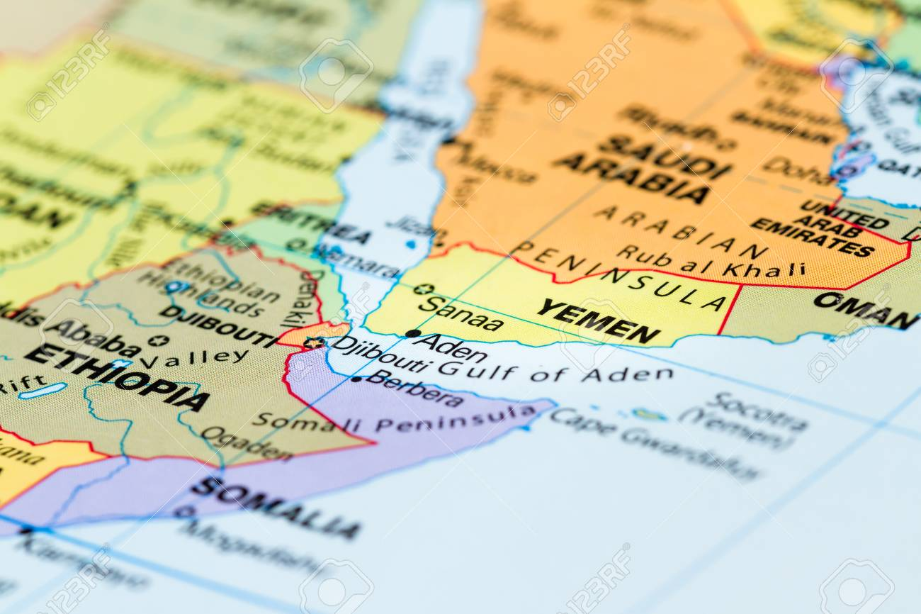 Close Up Of A World Map With The Country Of Yemen In Focus Stock