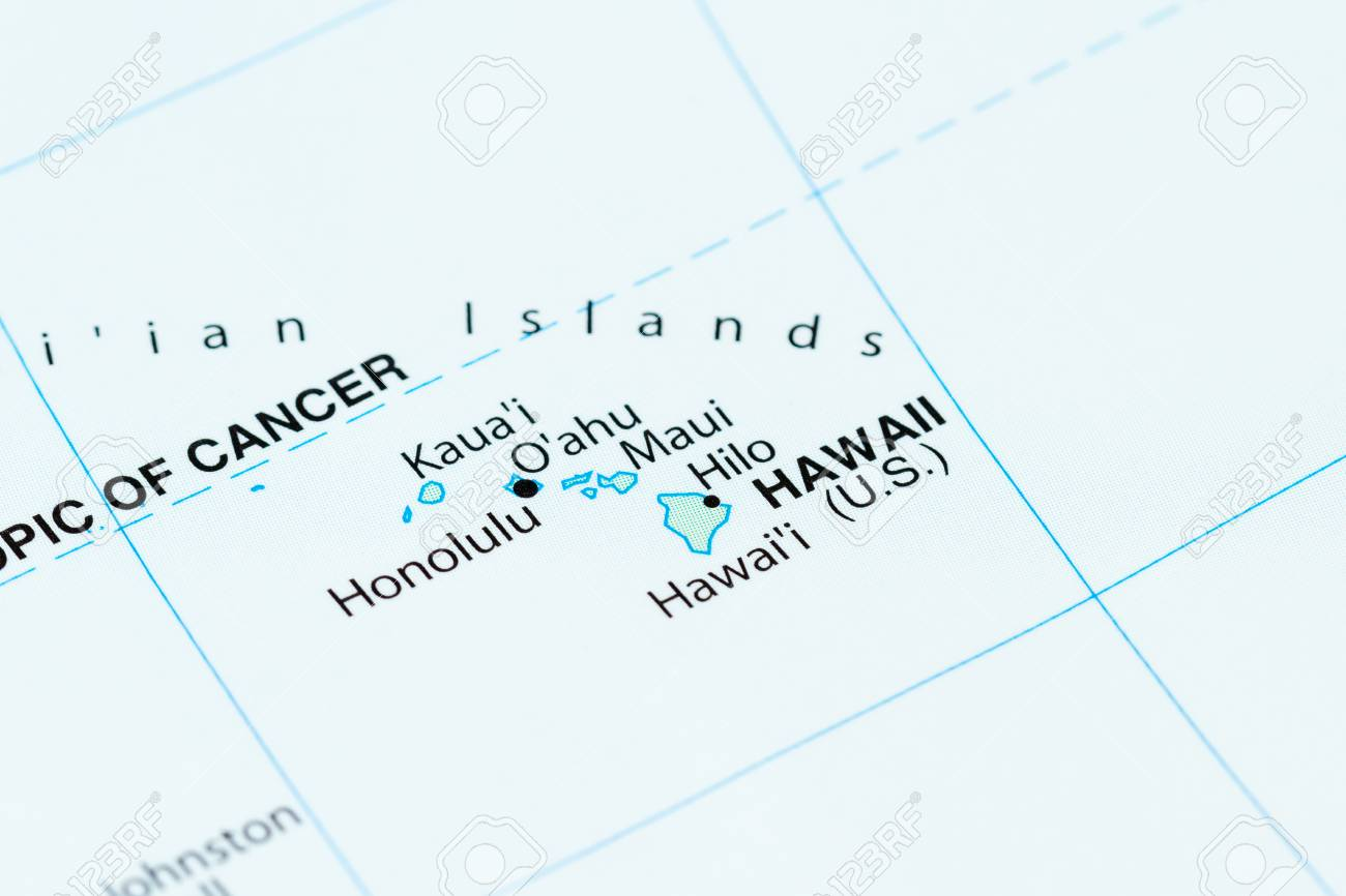 Close Up Of A World Map With Hawaii In Focus Stock Photo, Picture ...