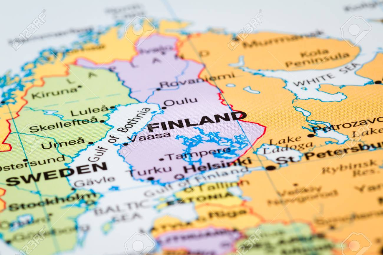 Scandinavia On A World Map With Finland In Focus Stock Photo