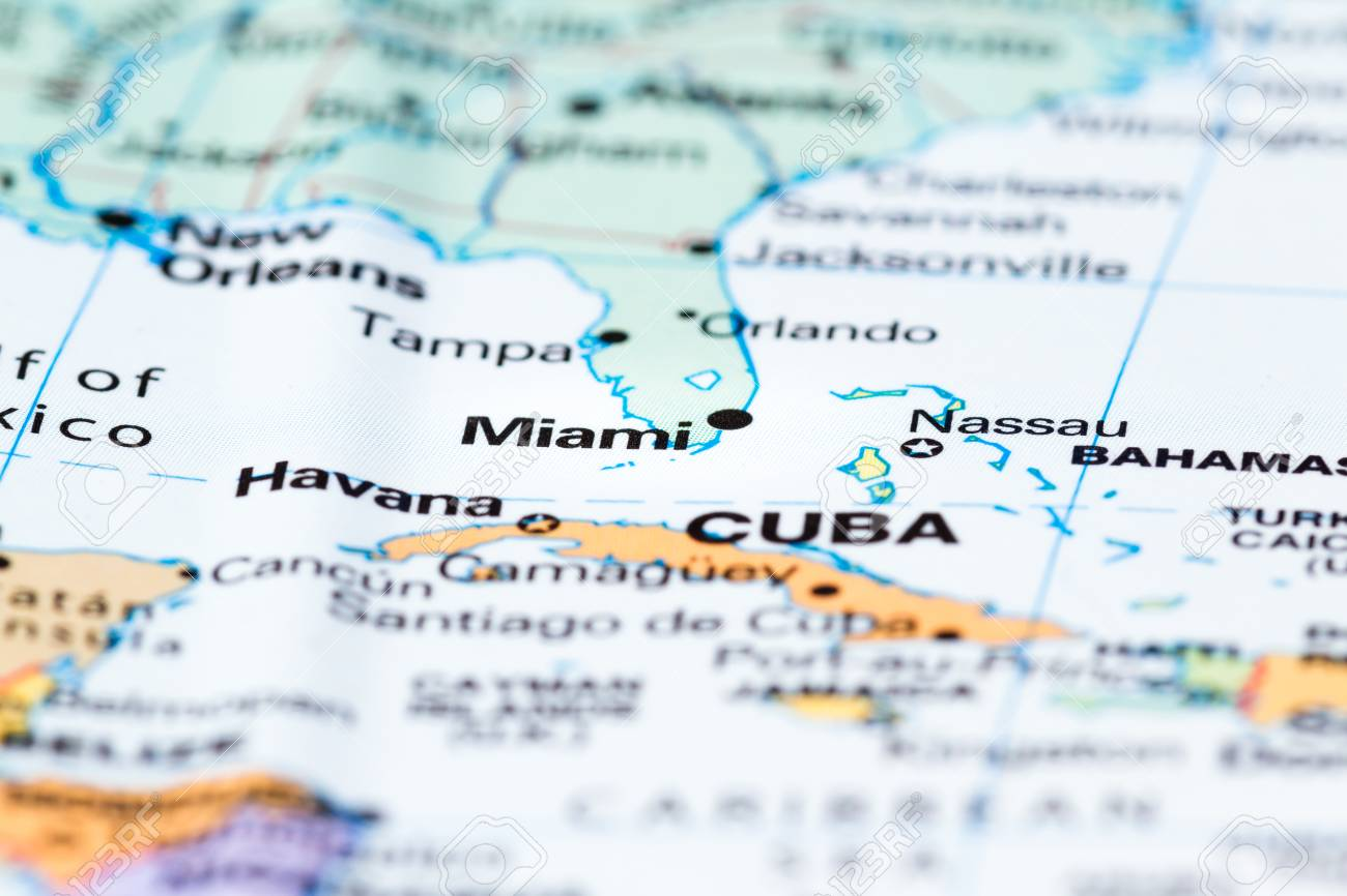 Florida On The World Map.Section Of Florida With Miami In Focus On A World Map