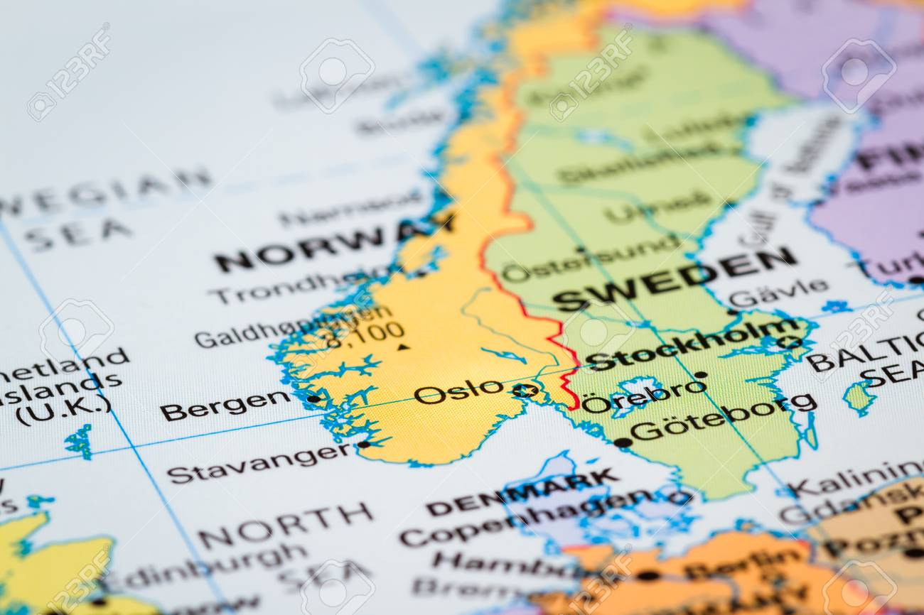 Scandinavia On A World Map With Oslo Norway In Focus Stock Photo