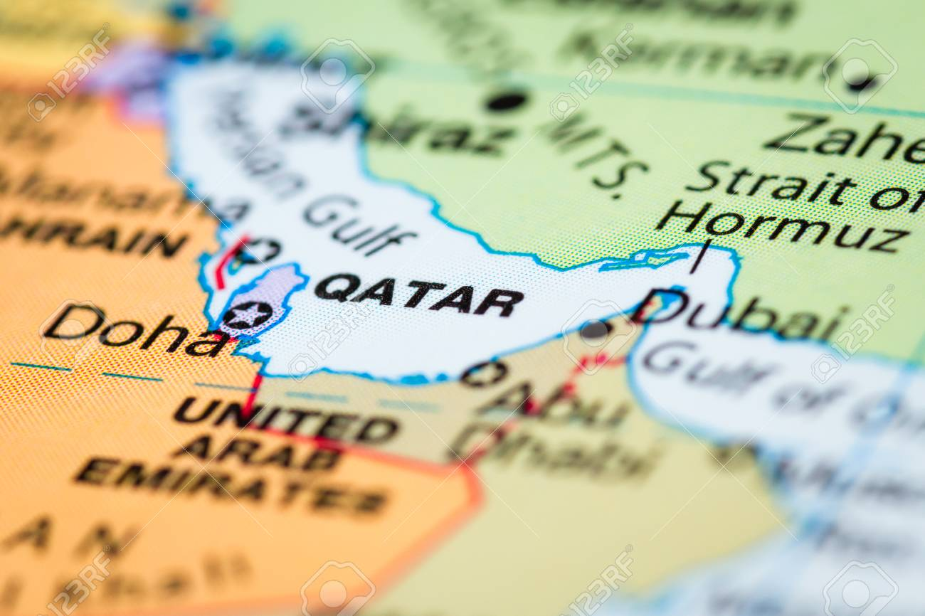 Close Up Of A World Map With The Country Of Qatar In Focus Stock ...