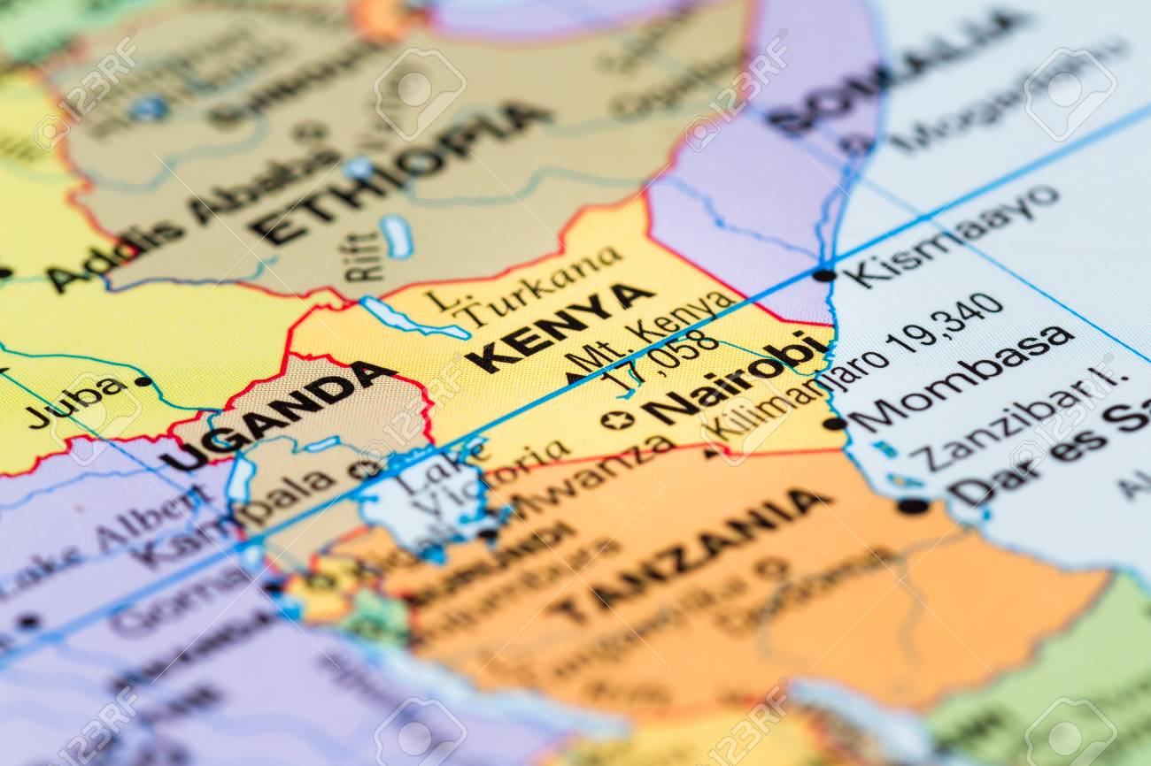 Map Of The World Close Up.Close Up Of A World Map With The Country Of Kenya In Focus