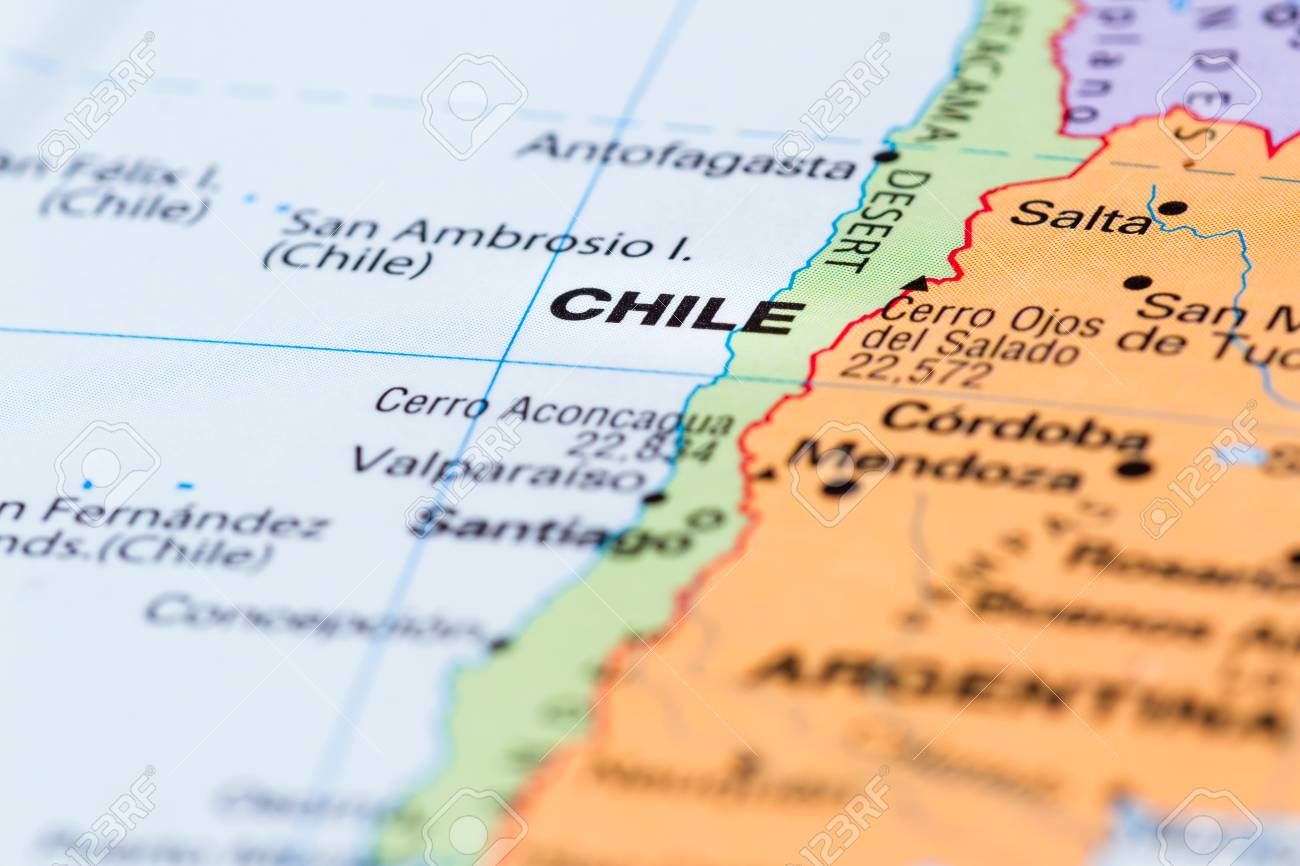 close up of a world map with the word Chile in focus on the the world map, chile's map, chile latin america map, chile on geography map, chile lakes map, chile in map, chile capital on map, ecuador south america on map, chile tourist attractions, chile flag, chile physical map, chile economic map, chile on global map, atacama desert temperature map, ports of chile map, chile on us map, middle chile map, chile world atlas, chile and capital map, chile culture,