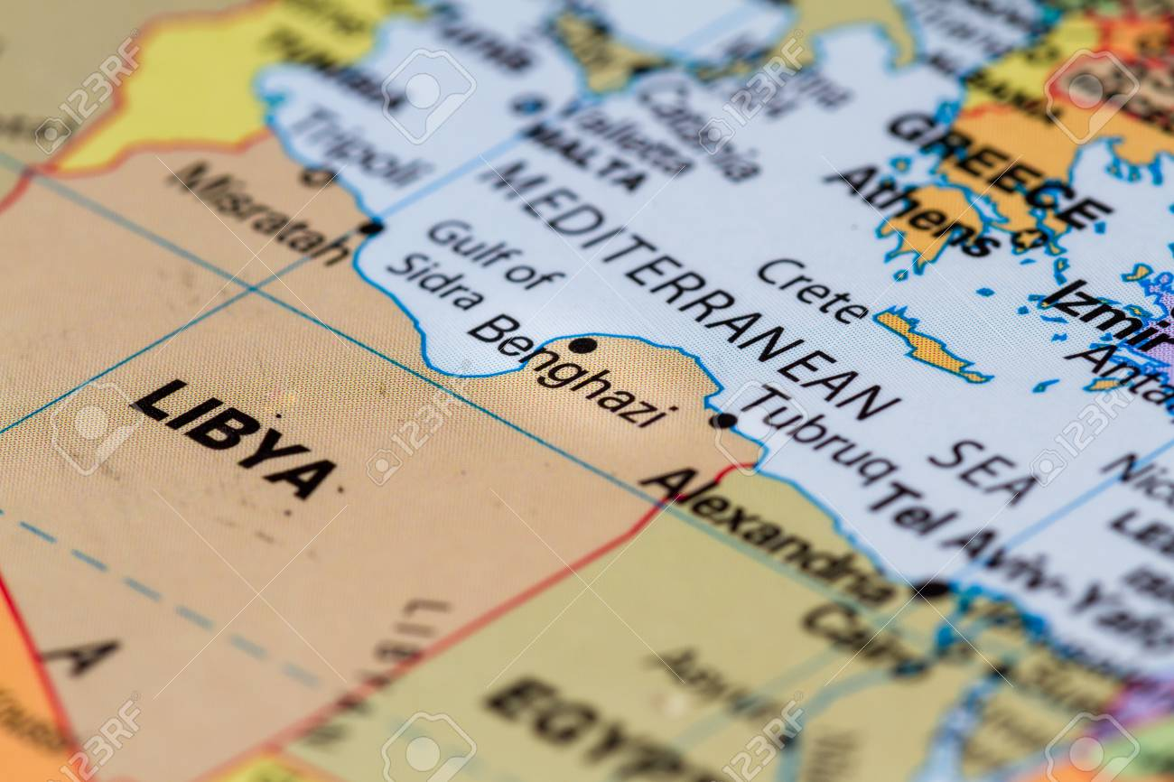 Close Up On The Country Of Libya On A World Map Stock Photo Picture
