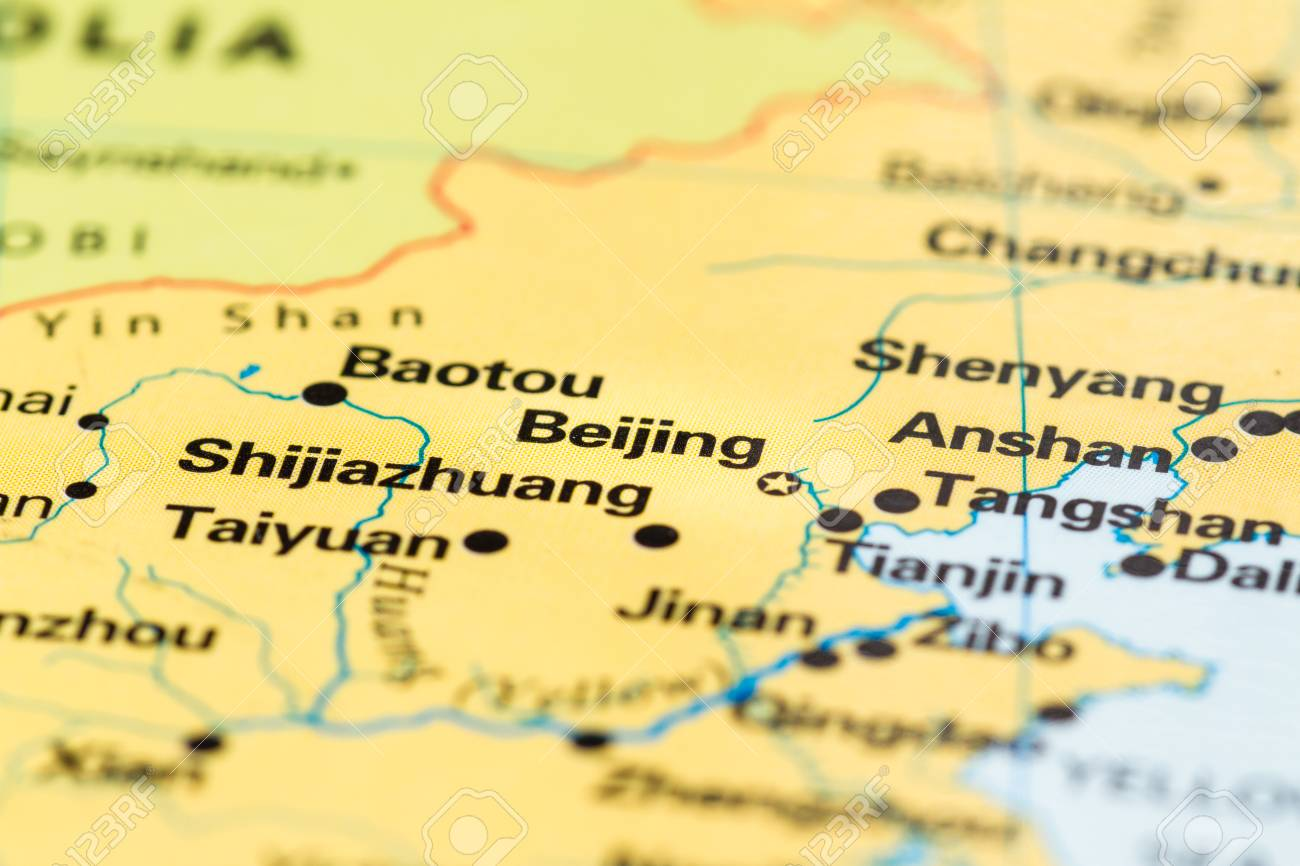 Close Up Of Beijing On A World Map Stock Photo Picture And Royalty