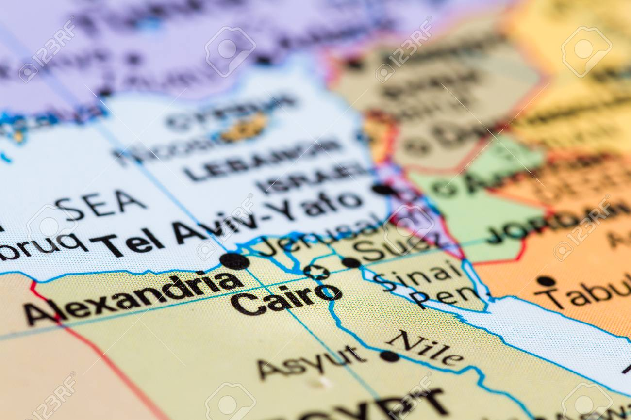 Close Up Of A World Map With Cairo In Focus Stock Photo Picture And