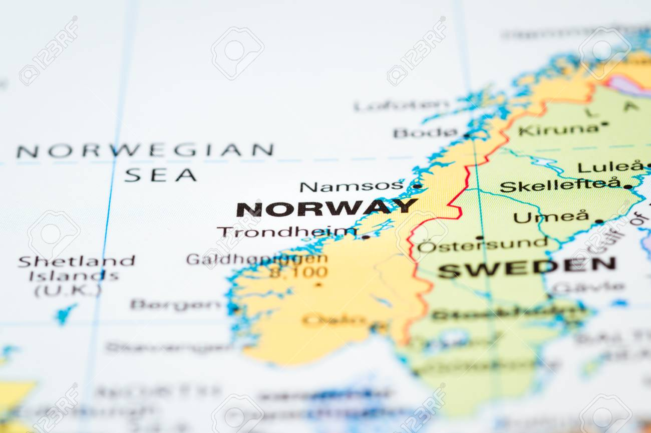 Scandinavia On A World Map With Norway In Focus Stock Photo Picture