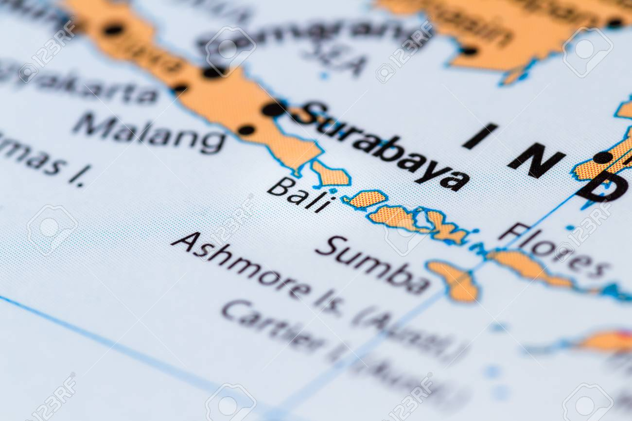 close up of bali and other south pacific islands on a world map stock photo