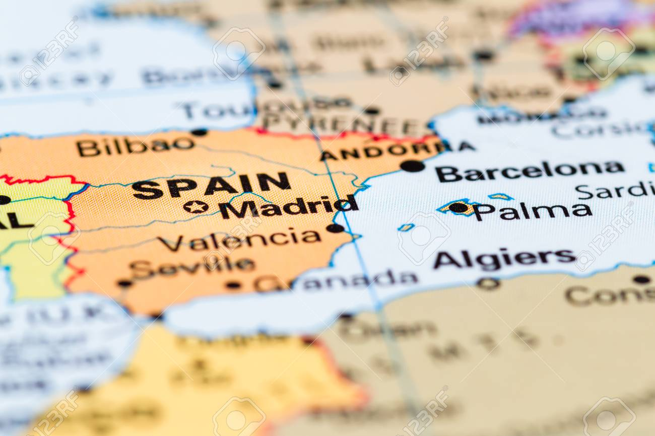 Map Of Spain On World Map.Close Up Of A World Map With Spain In Focus