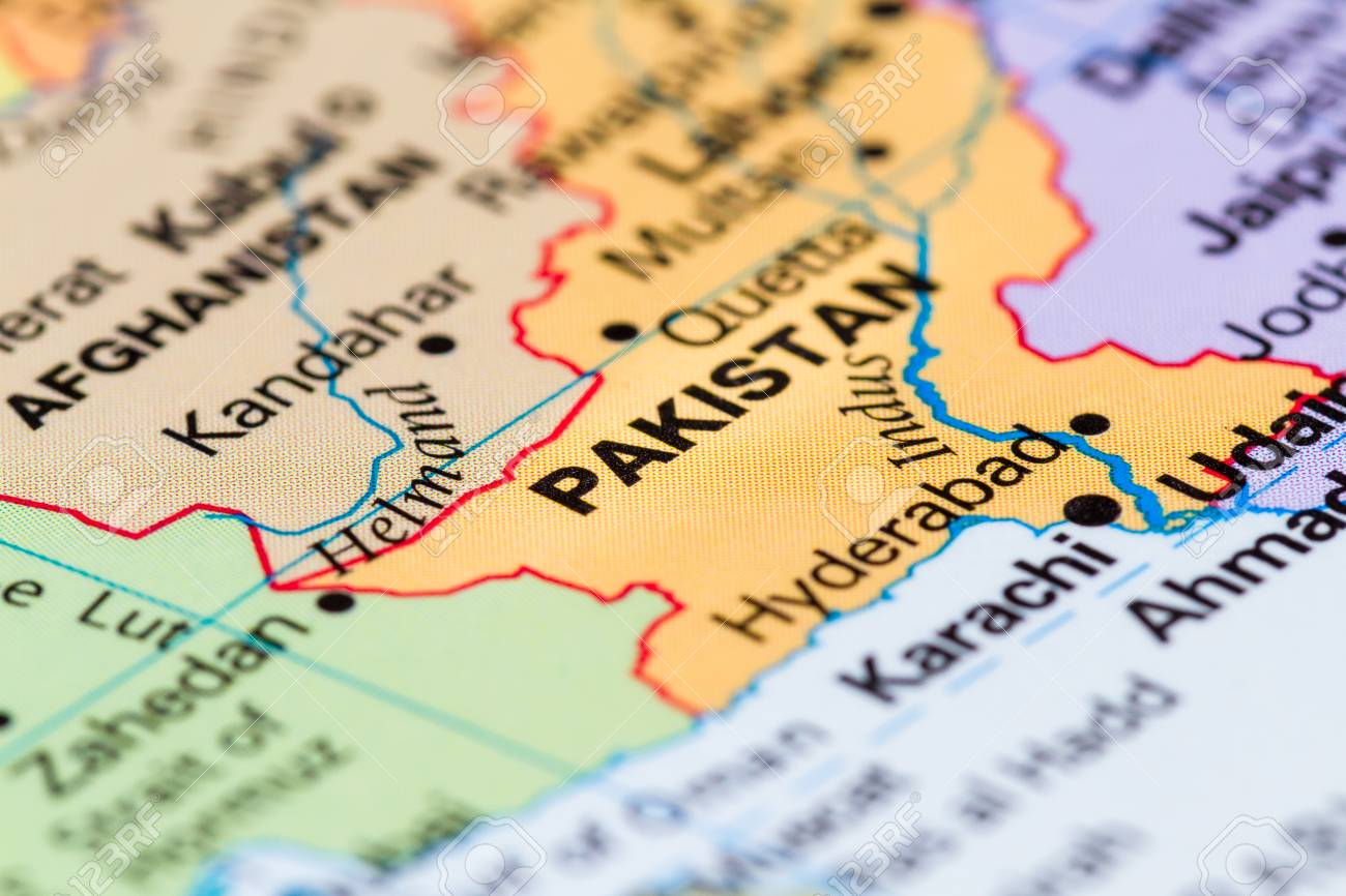 Map Of The World Close Up.Close Up Of A World Map With The Word Pakistan In Focus