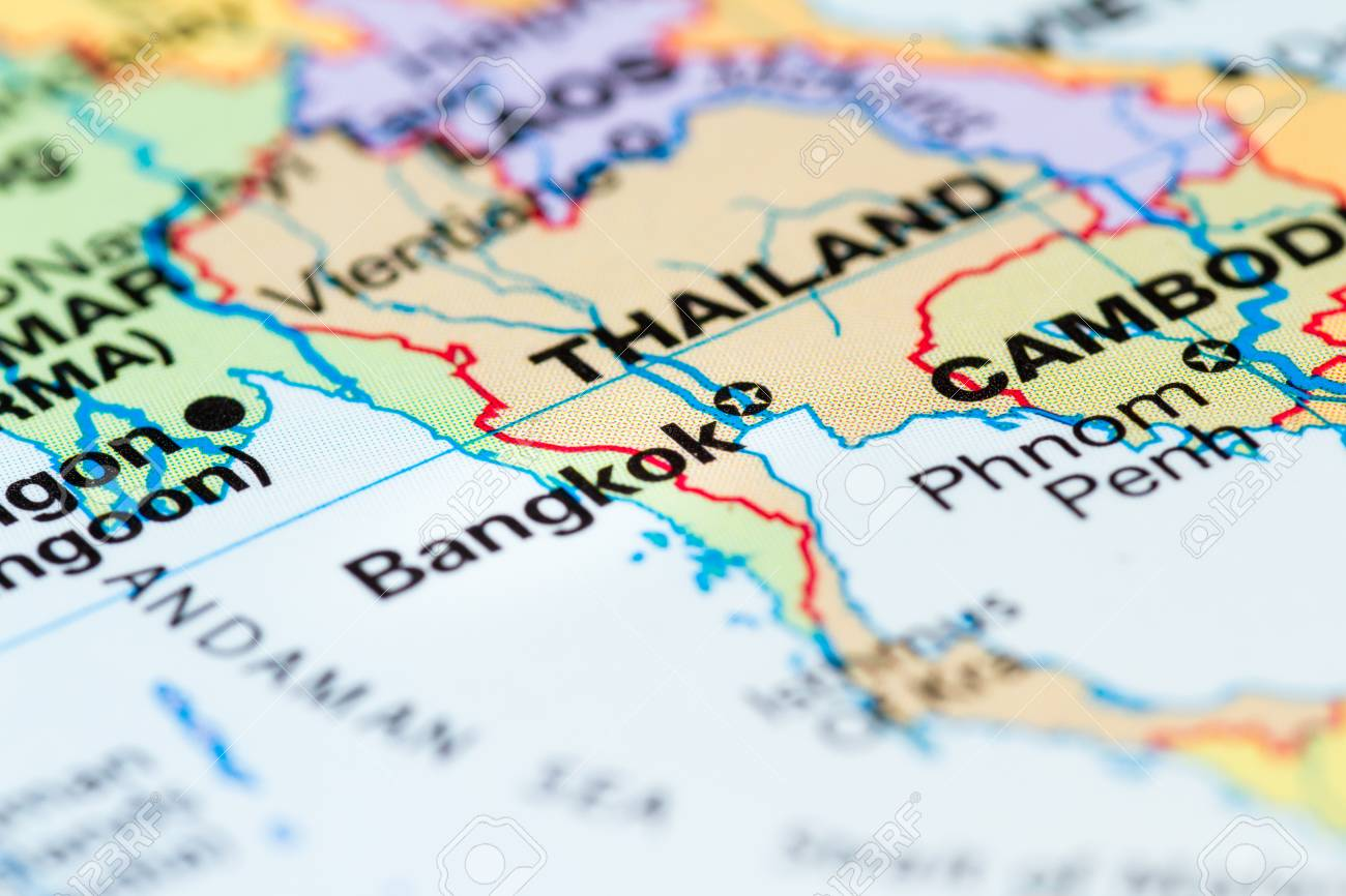 World map with a close up of bangkok thailand in focus stock photo stock photo world map with a close up of bangkok thailand in focus gumiabroncs Gallery