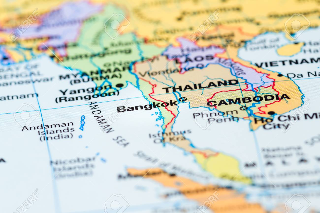 World Map With A Close Up Of Bangkok, Thailand In Focus Stock Photo ...