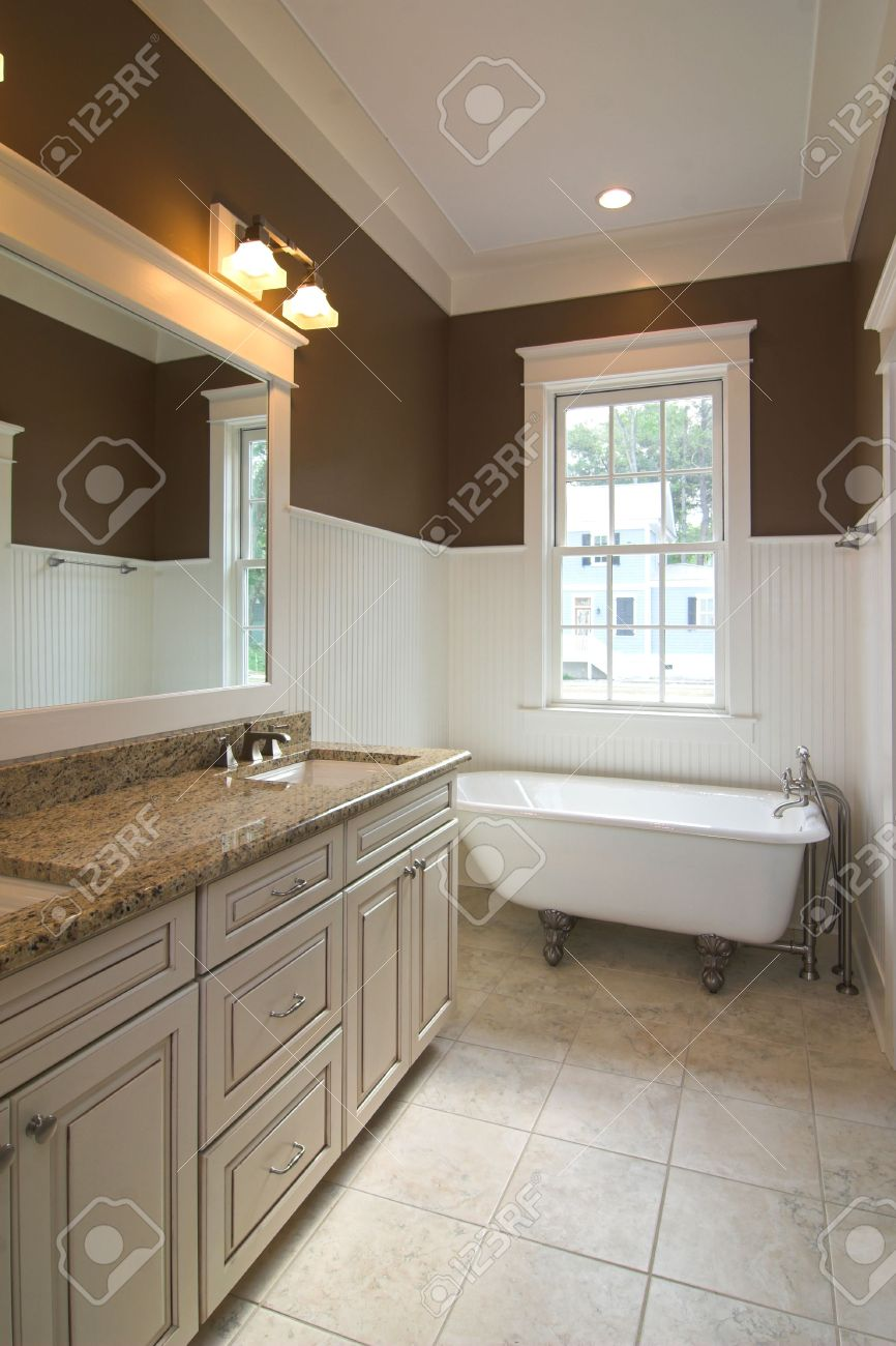 Elegant Modern Bathroom With Clawfoot Tub Stock Photo Picture And - Modern bathroom with clawfoot tub