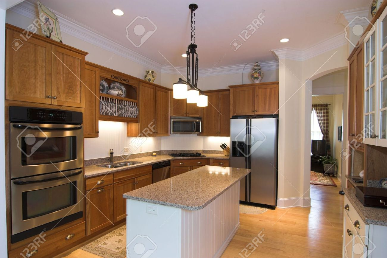 legant Kitchen In Warm ones Stock Photo, Picture nd oyalty ... - ^
