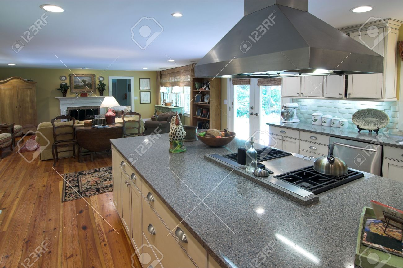 Kitchen Island Open To Living Room large open kitchen and livingroom stock photo, picture and royalty