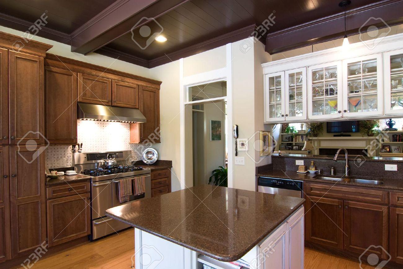 Beautiful Dark Kitchens Beautiful Dark Wood And Granite Kitchen With Island Stock Photo