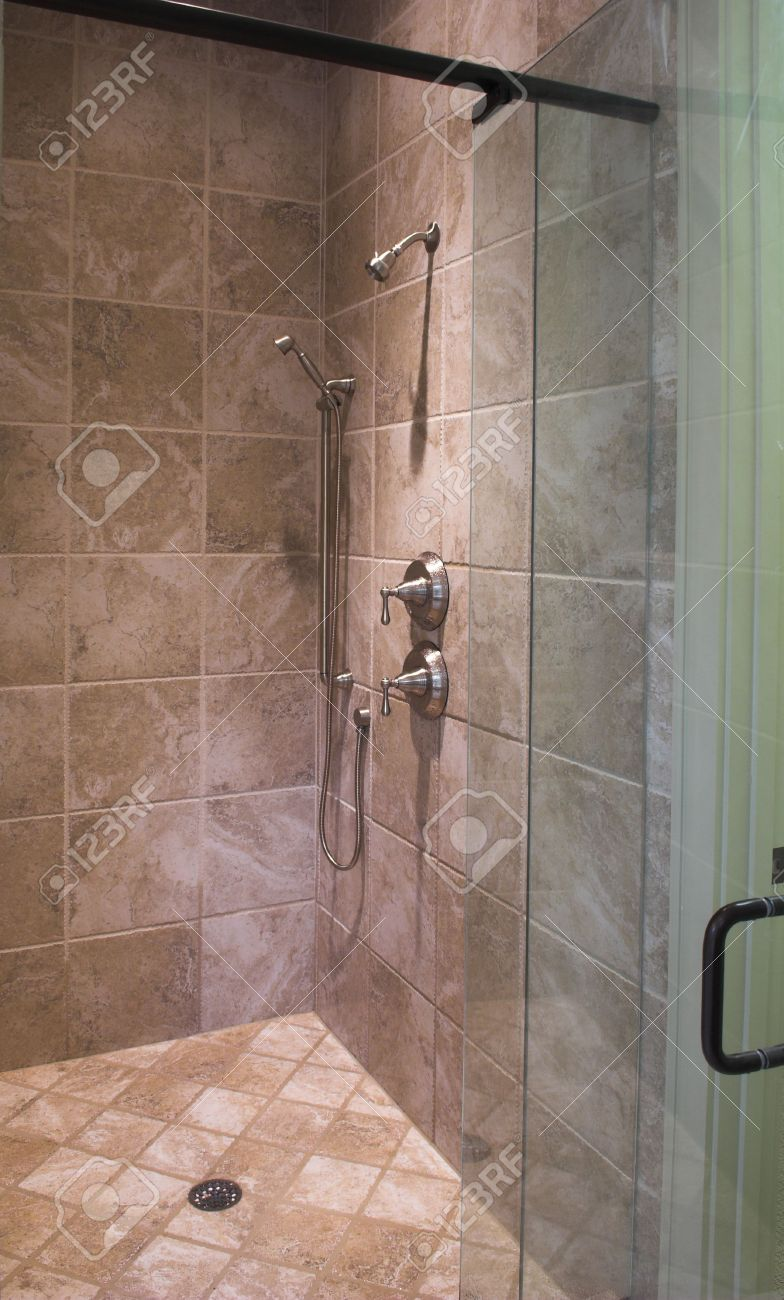 stock photo luxury tile shower with glass door