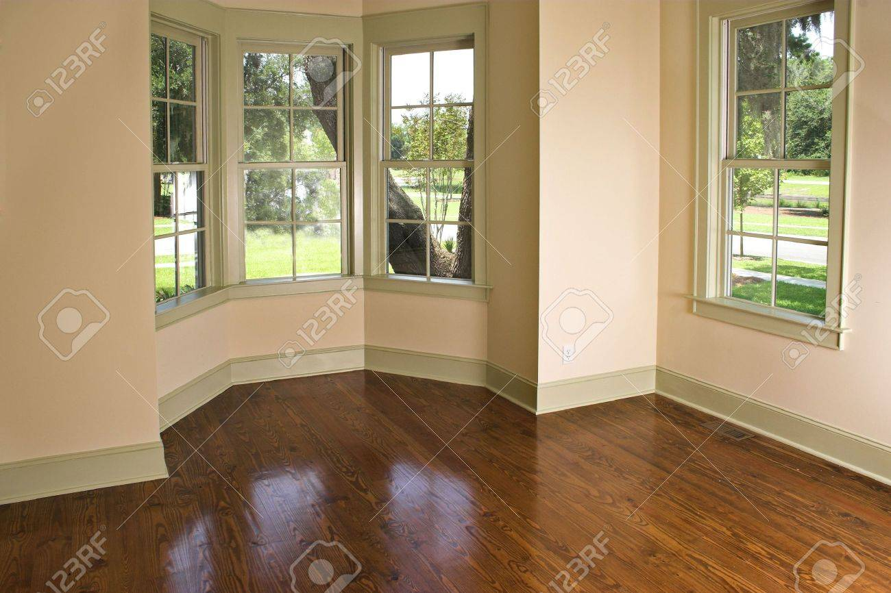 Empty Room With Bay Window, Place Own Furniture Stock Photo   2505090
