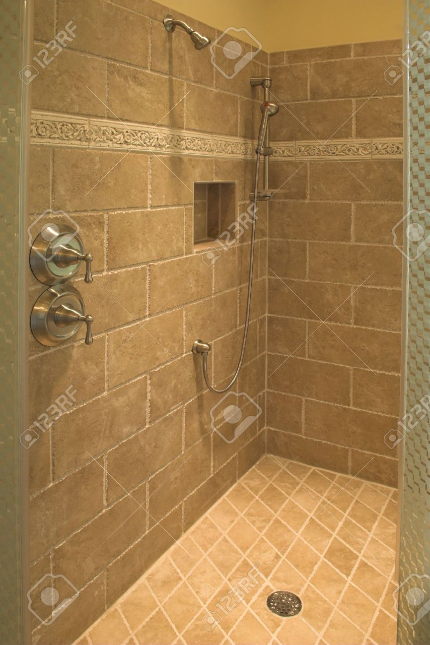 Luxurious Shower With Stone Walls And Floor Stock Photo   2505084