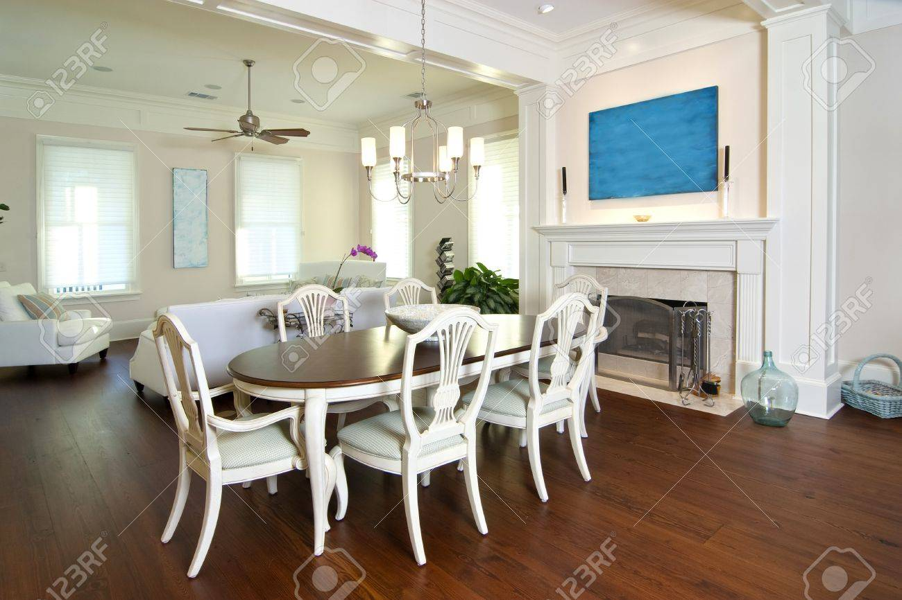 elegant diningroom and livingroom with fireplace Stock Photo - 4255475