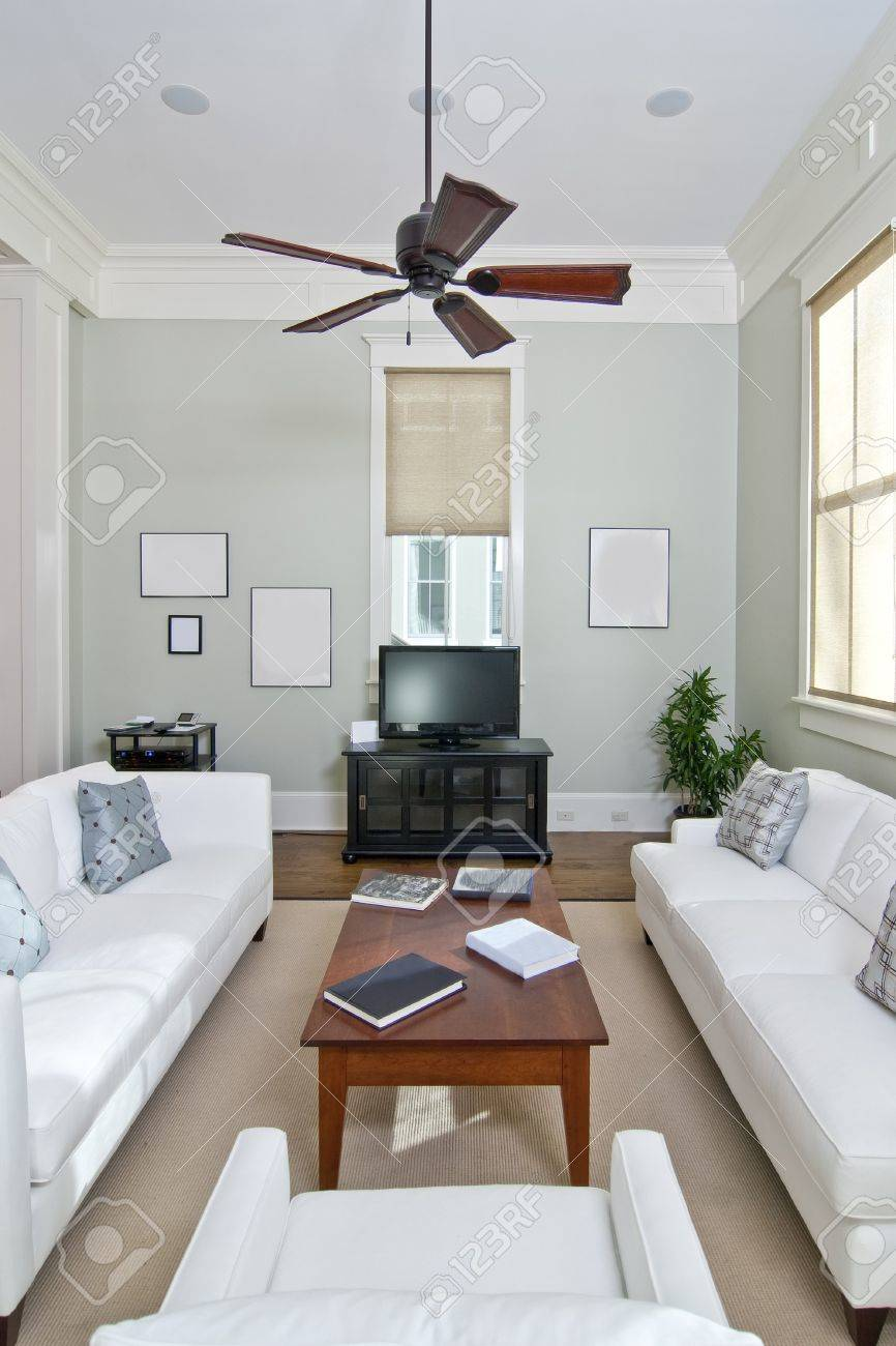 Ultra Modern Living Room With White Furniture Stock Photo, Picture ...