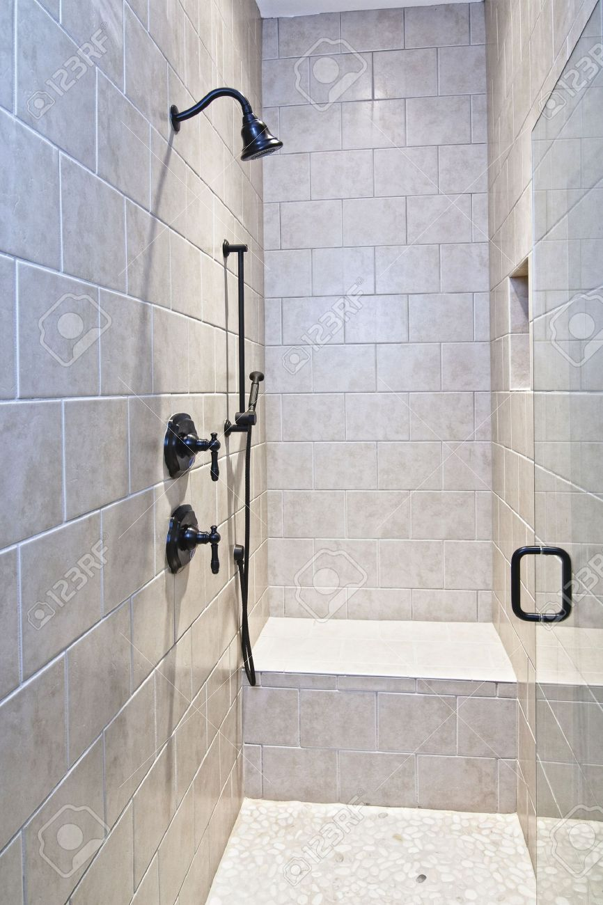 Luxury Shower With Bench And Pebble Floor Stock Photo, Picture And ...