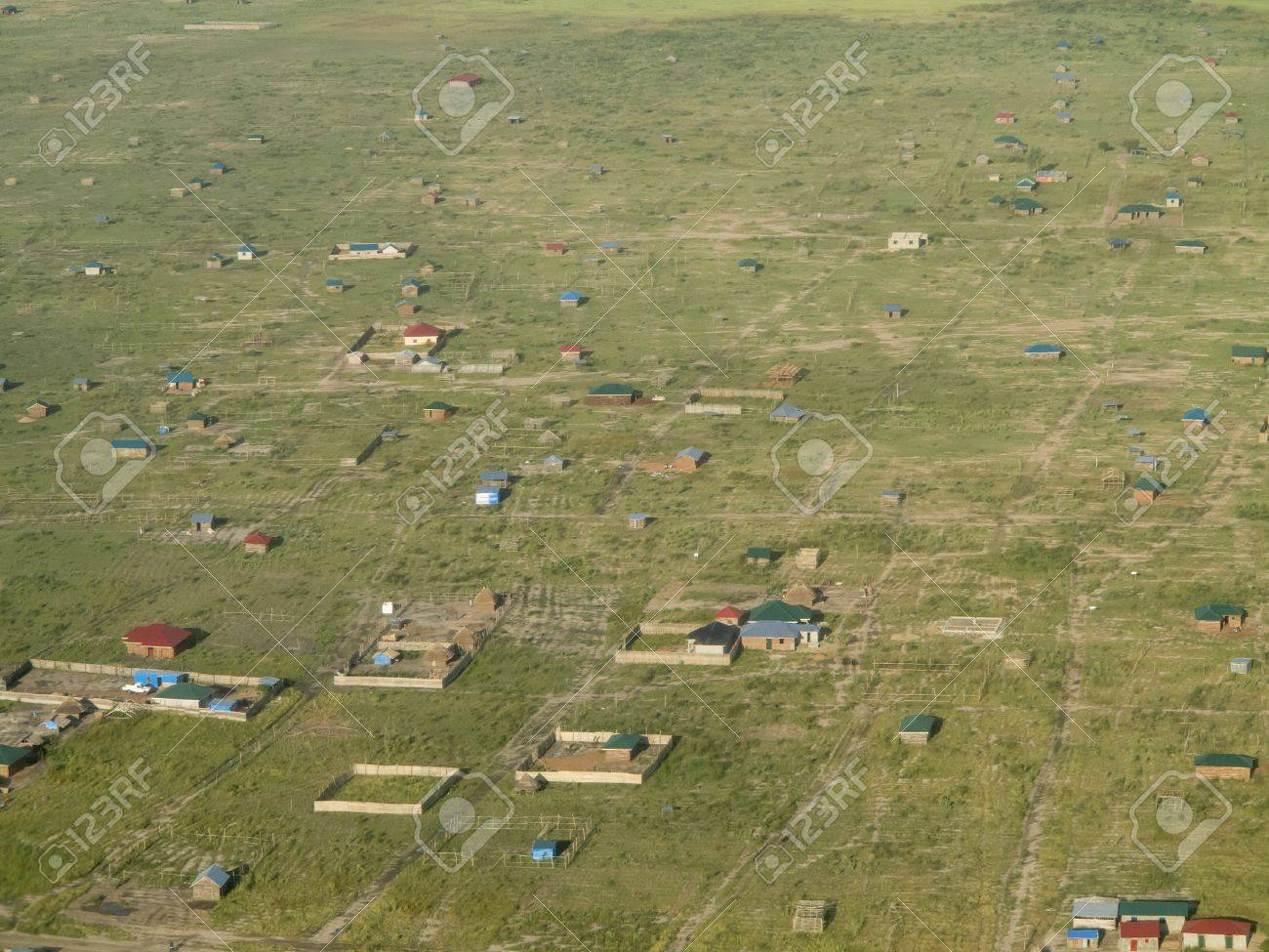 aerial view of villages on the outskirts of Juba, South Sudan