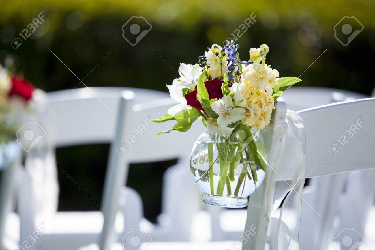 Hangendes Glas Blumen An Der Hochzeit Lizenzfreie Fotos Bilder Und