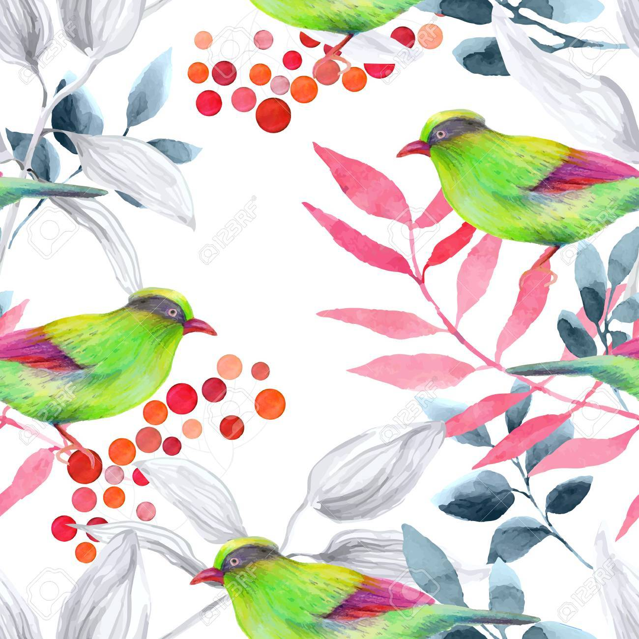 Watercolor seamless pattern with birds. - 43554384