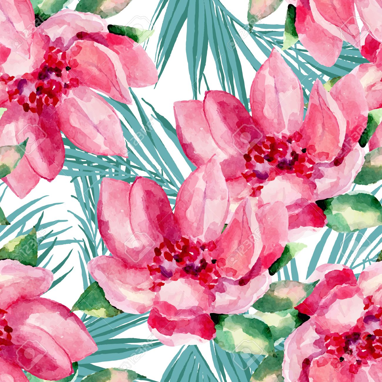 Watercolor seamless pattern of exotic flowers.Tropical flowers and palm leaves - 43554547