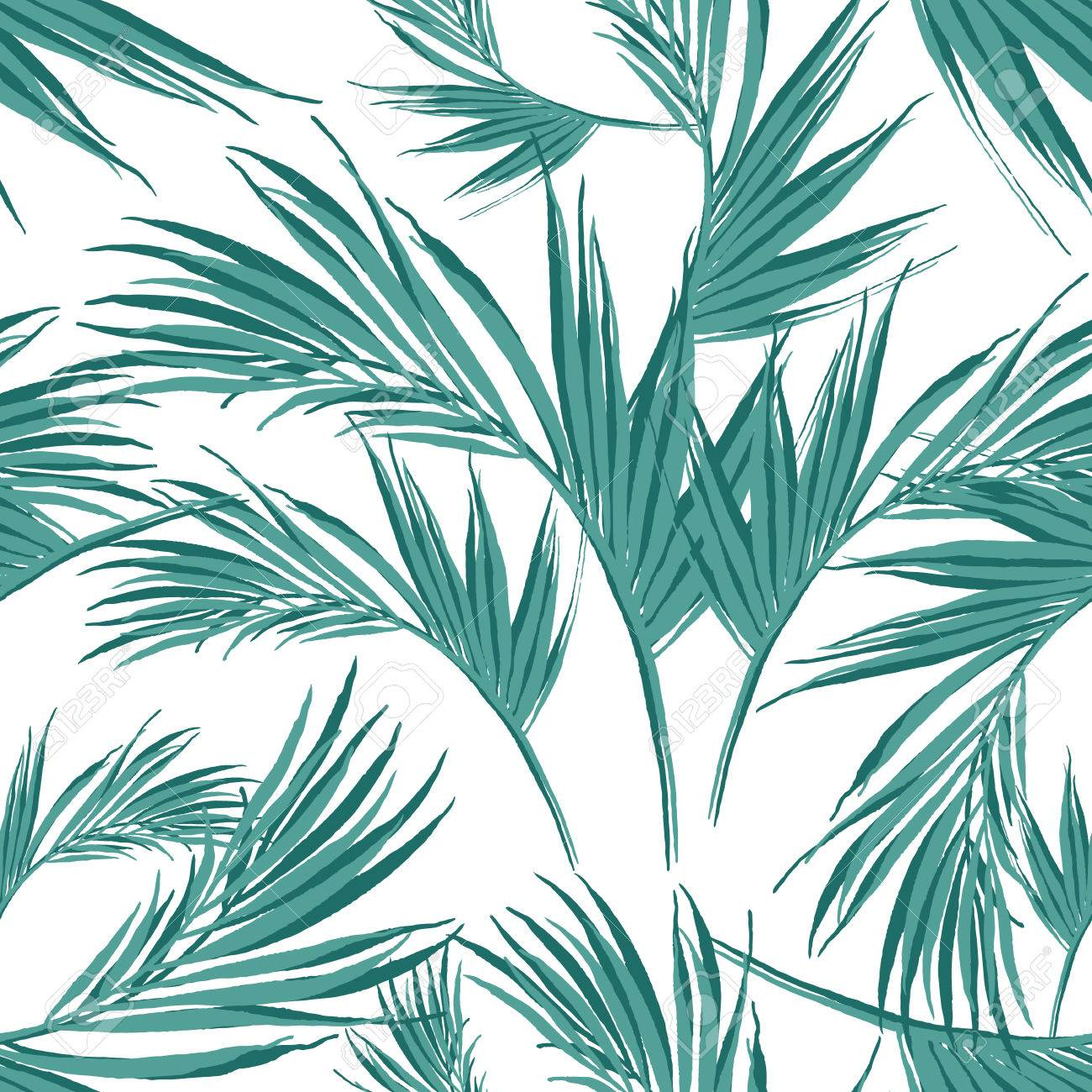 Watercolor seamless pattern of exotic flowers.Tropical flowers and palm leaves - 43857941