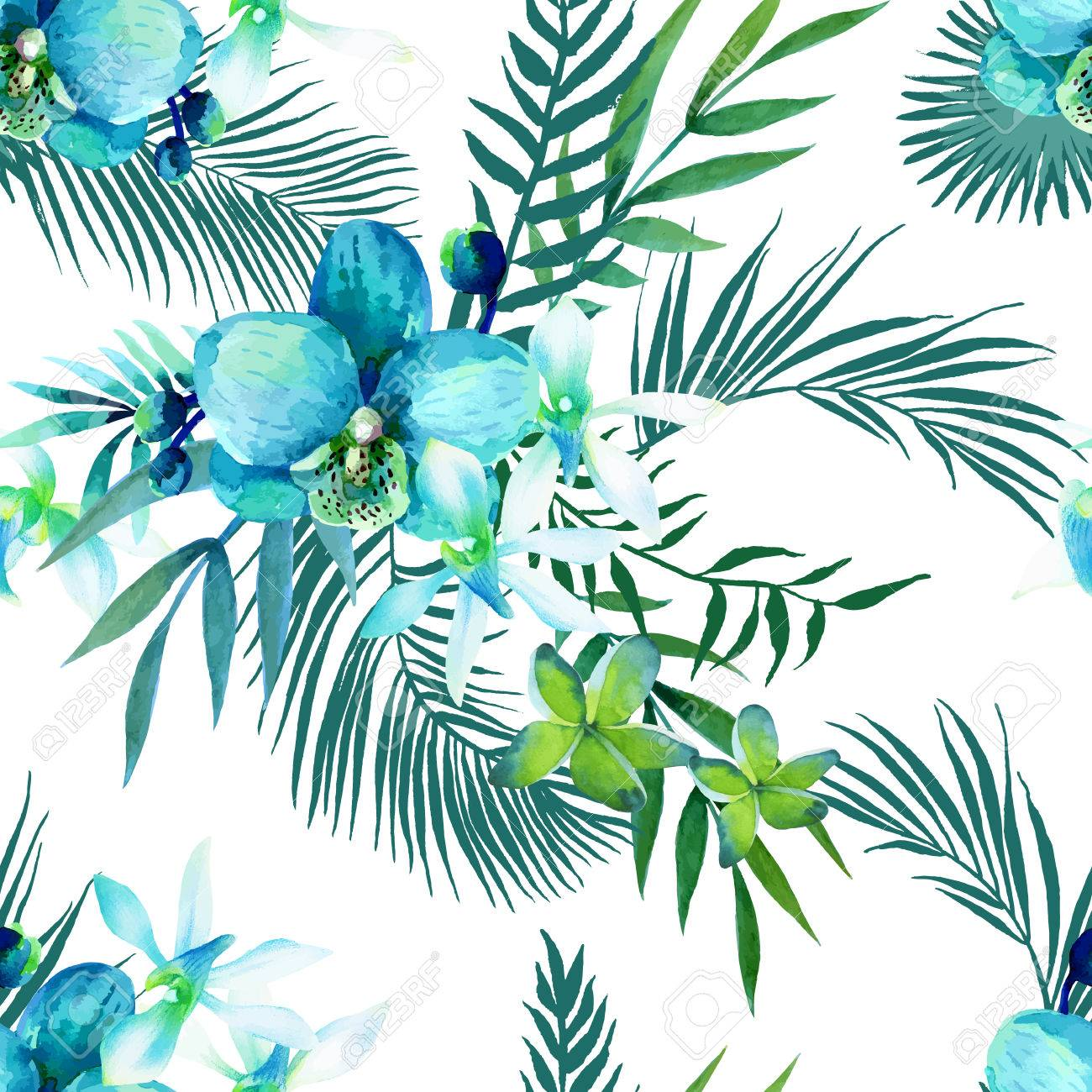 Watercolor seamless pattern of exotic flowers - 43999243