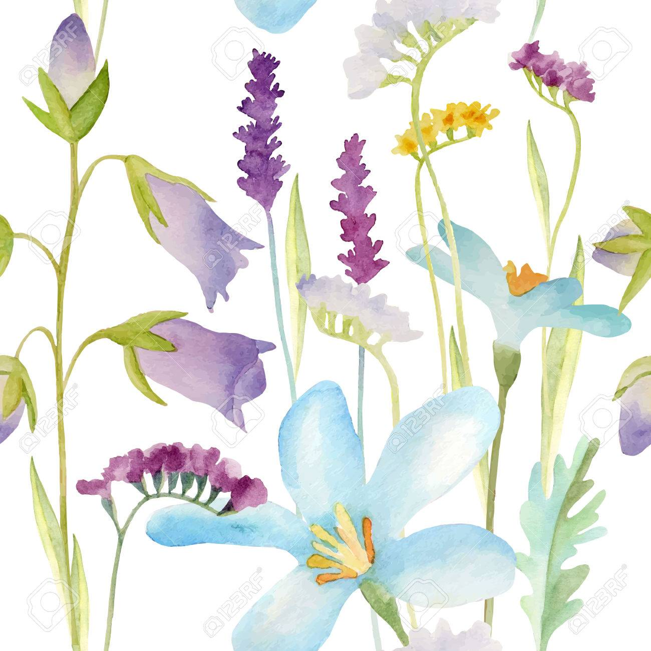 Watercolor flowers seamless pattern.Bright colors watercolor background. - 47899850