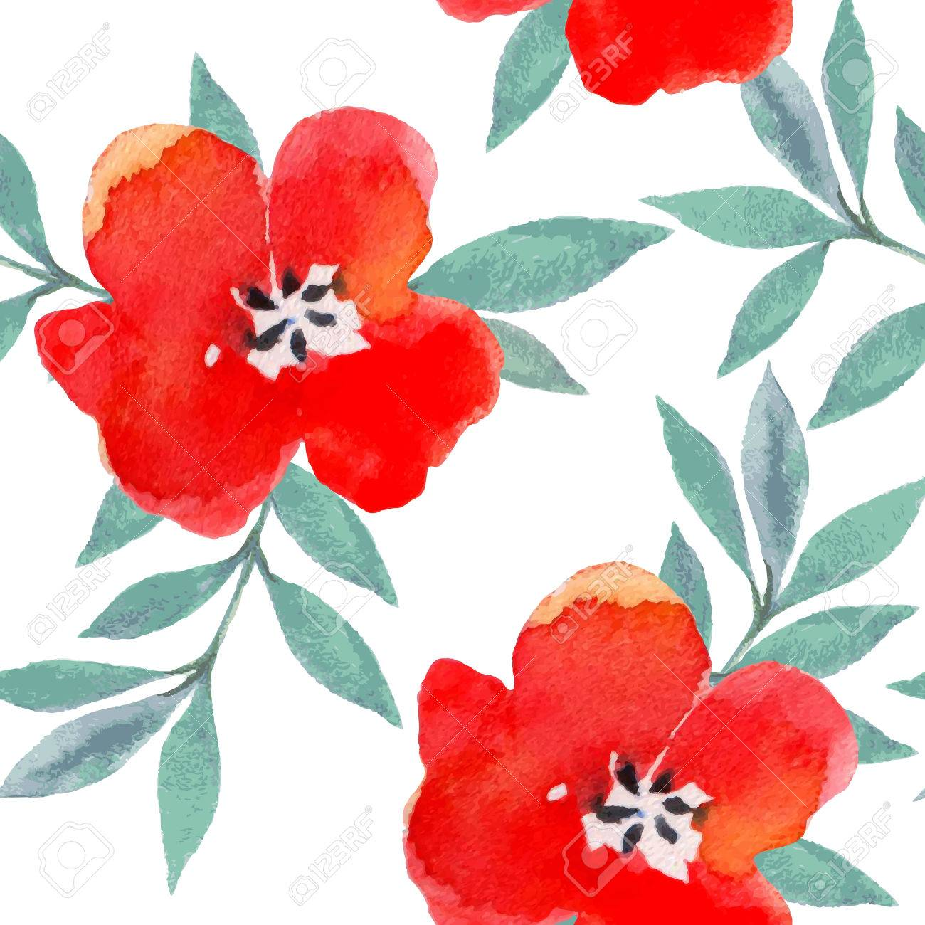 Watercolor Flowers Seamless Pattern. Bright Colors Watercolor ...
