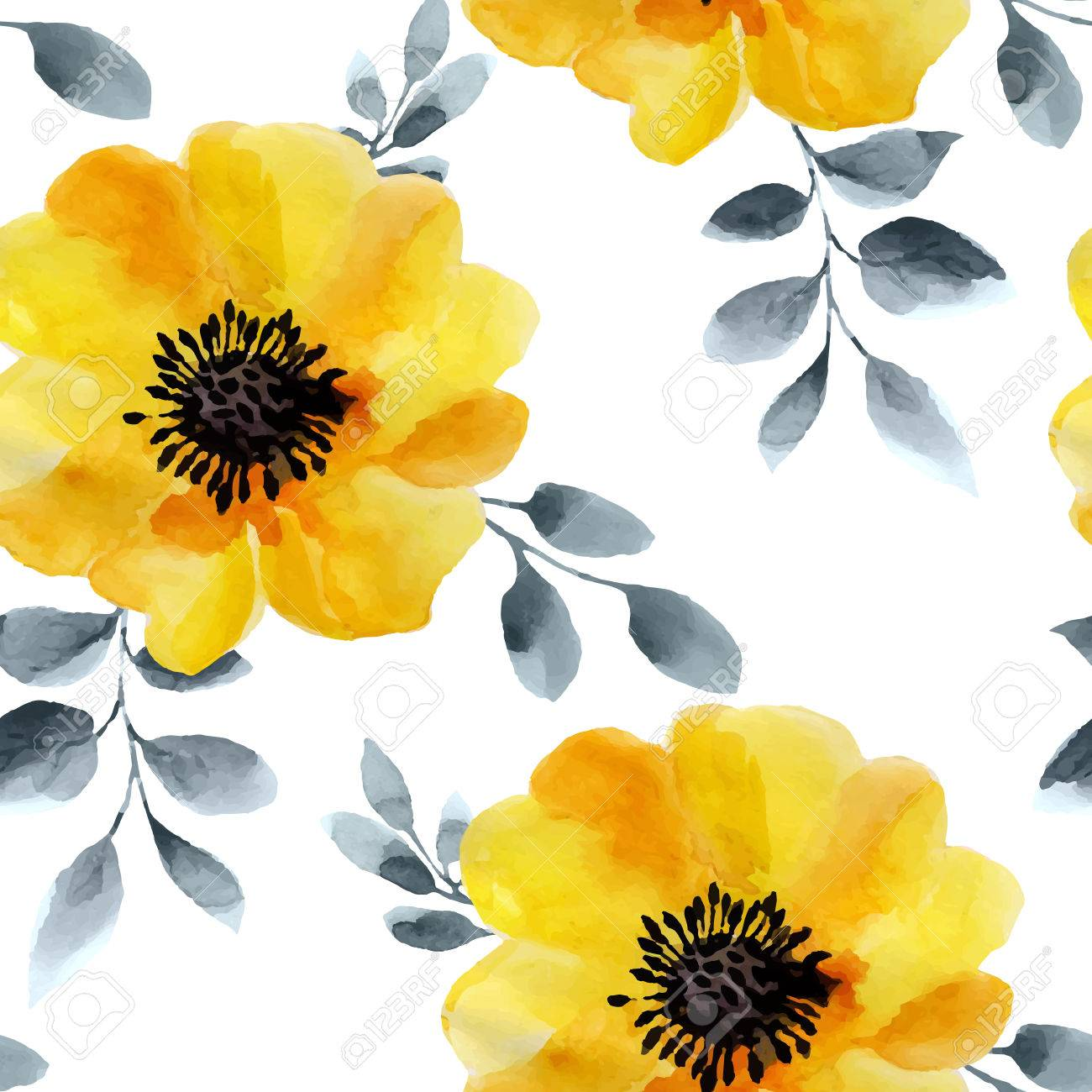 Watercolor flowers seamless pattern. Bright colors watercolor background. - 50536005