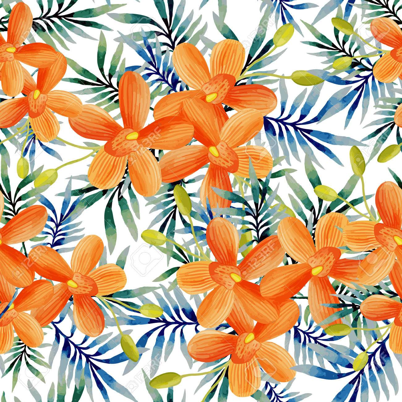 Watercolor seamless pattern of exotic flowers. Tropical flowers and palm leaves - 50719060