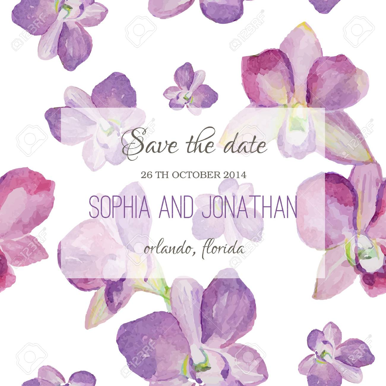 Wedding Invitation Watercolor With Orchid Flowers Illustration