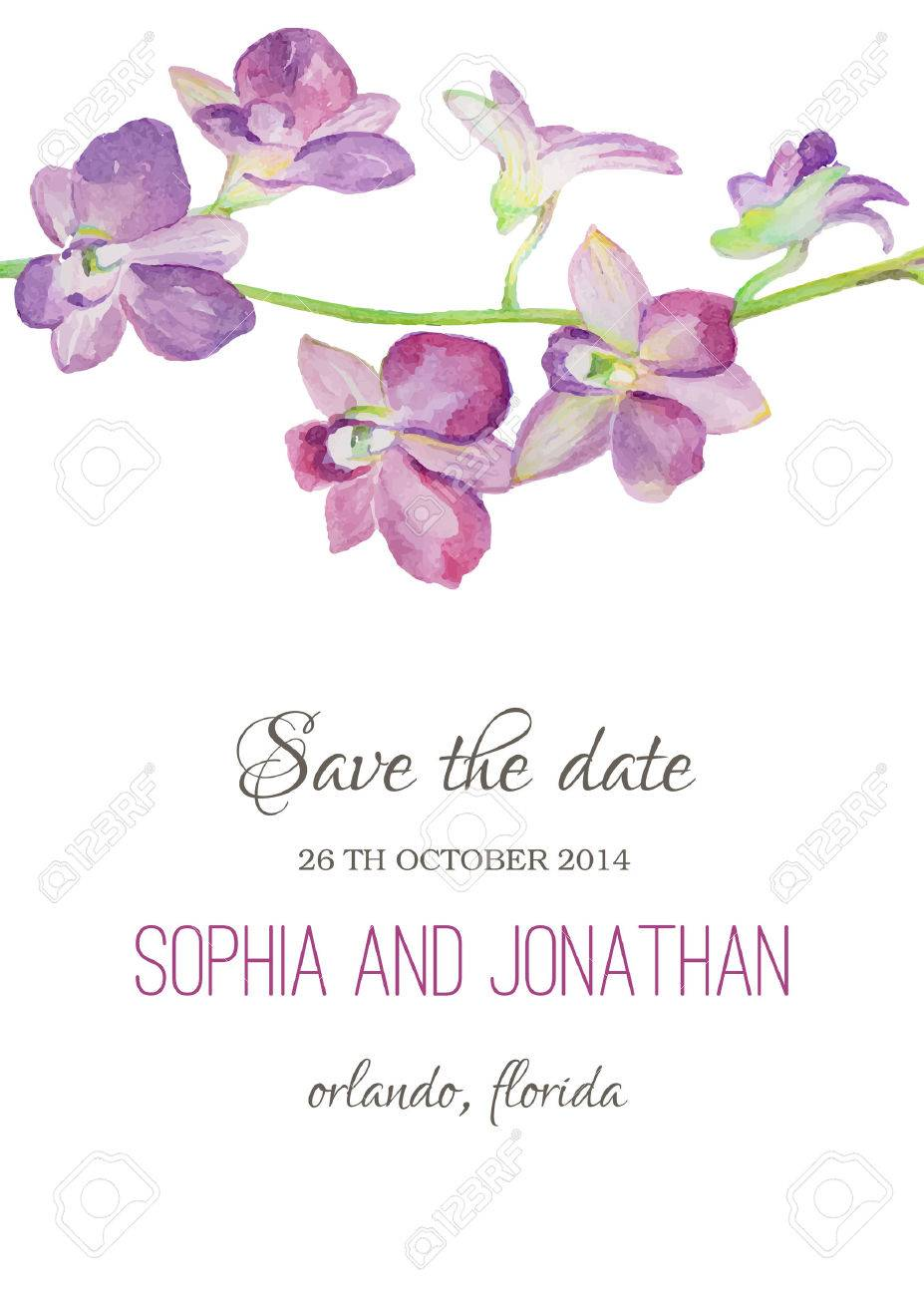 Wedding Invitation Watercolor With Orchid Flowers. Illustration ...
