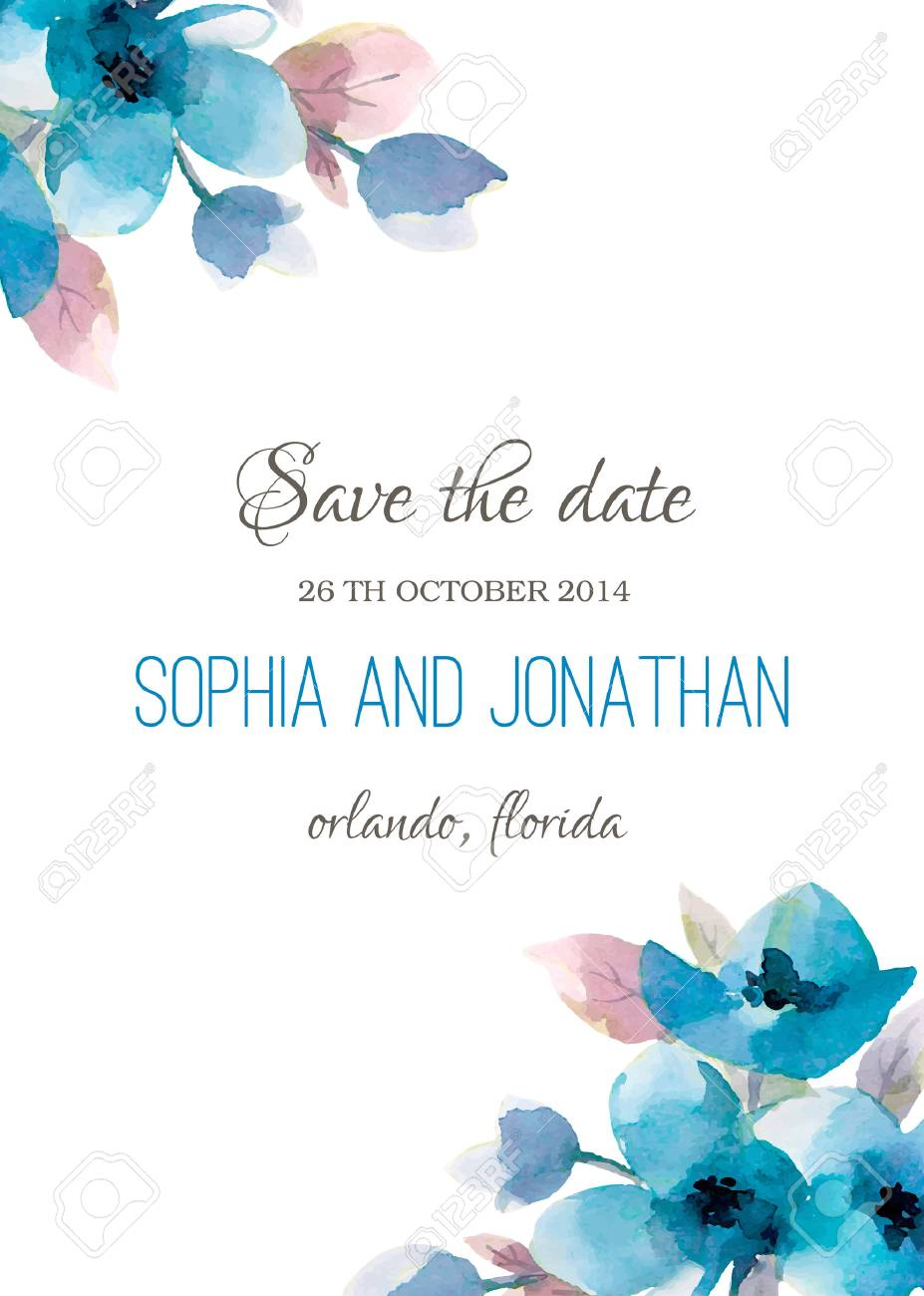 Wedding Invitation Watercolor With Flowers Illustration For